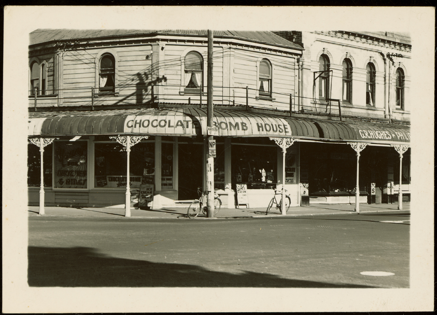 image of Chocolate Bomb House on the corner of Oxford Terrace and Manchester Street.