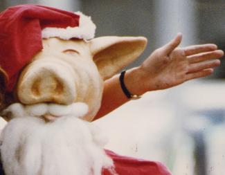 Detail of Hogshead mascot dressed as Santa