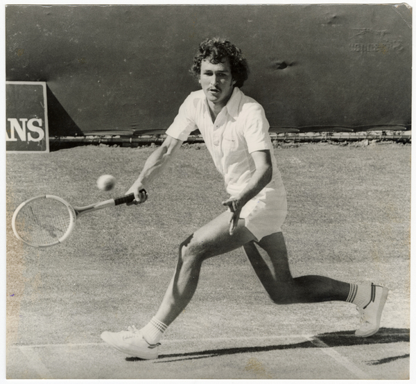 Peter Hampton during a game of tennis, Wilding Park