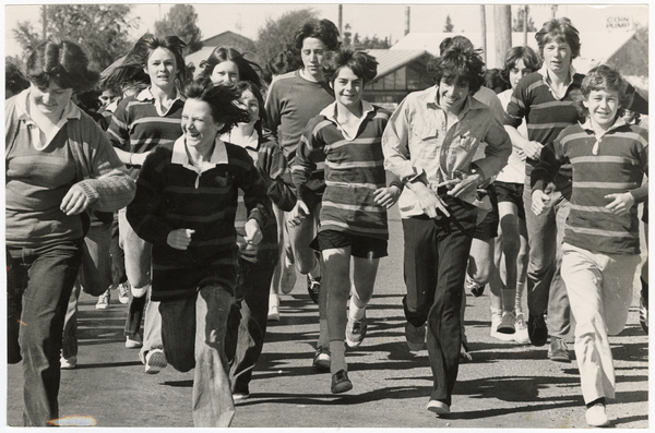 Linwood High School students running