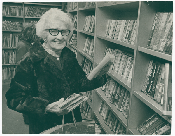 Dorothy Croucher in the mobile library