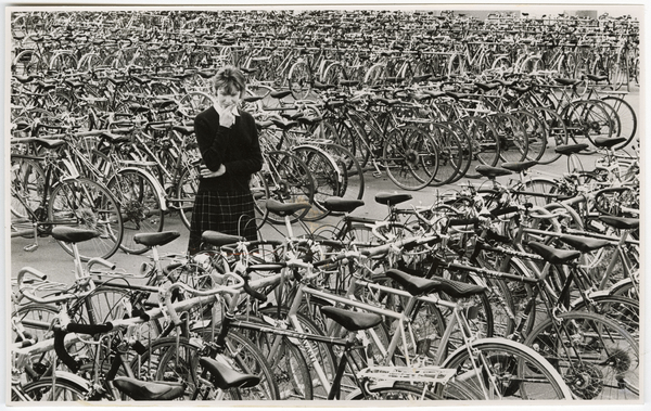 Pupil at Burnside High School with bicycles