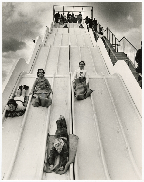 Riding the blue dry slide, QEII Park