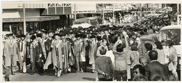 Procession of science graduands on Colombo Street.