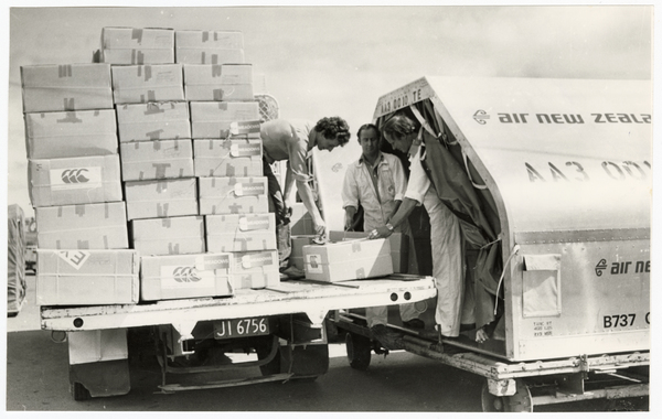 Lane Walker Rudkin clothing being loaded into a freighter