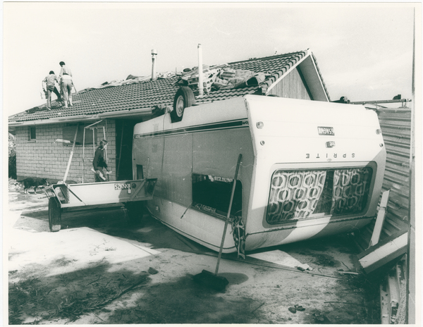 Caravan damaged by tornado, Halswell