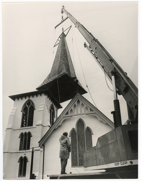 Lifting of the spire at St Augstine's Church, Cashmere