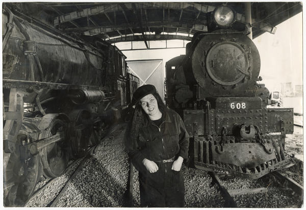 Maree Redward with steam locomotives at Ferrymead