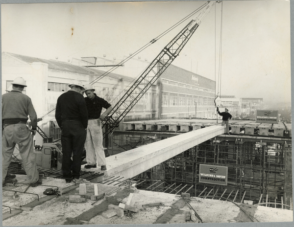 Construction of the Colombo Street overhead bridge