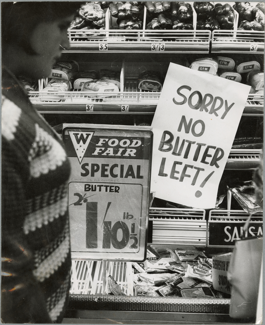 """Sorry no butter left!"" sign at New Brighton supermarket"