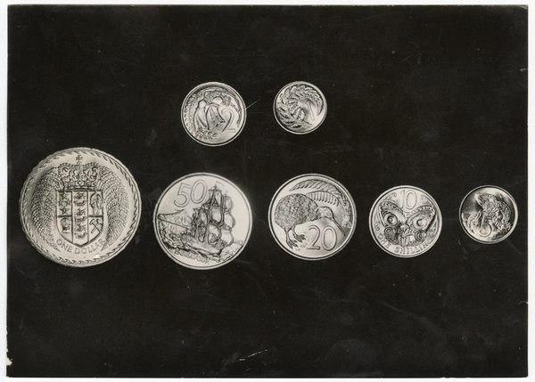 Seven coins photographed at the royal mint