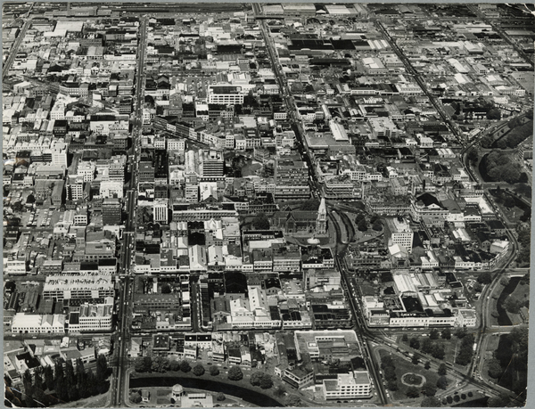 Aerial view of central Christchurch