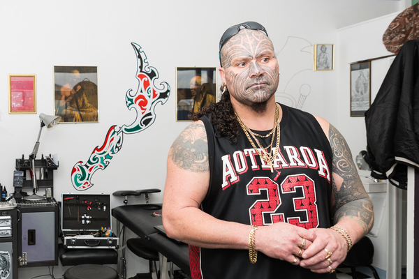 "Mura O Te Ahi at his tattoo shop ""Simbolic Tatu"""