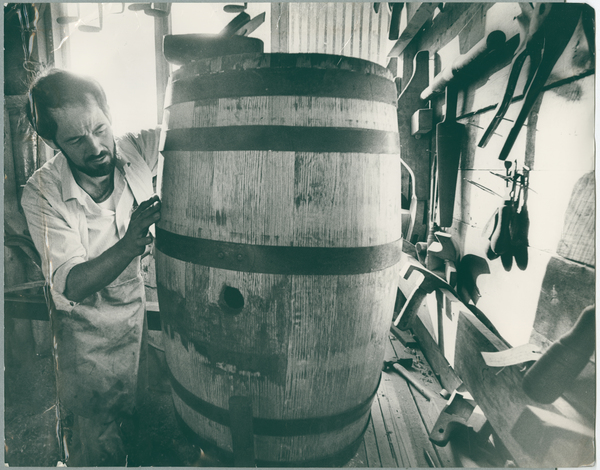 Cooper, David Bain, working on a barrel