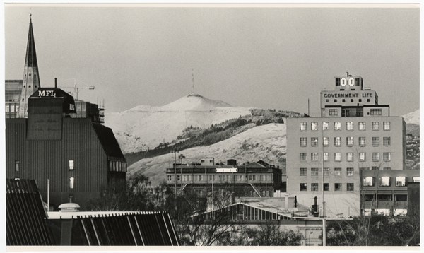 Central city and Port Hills with snow