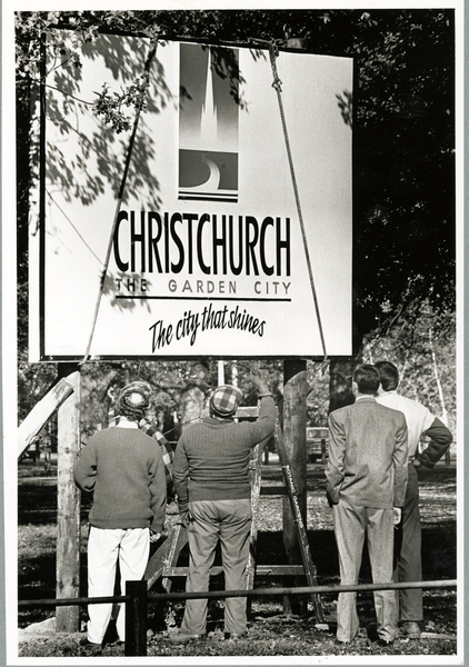 Christchurch promotional sign being revealed