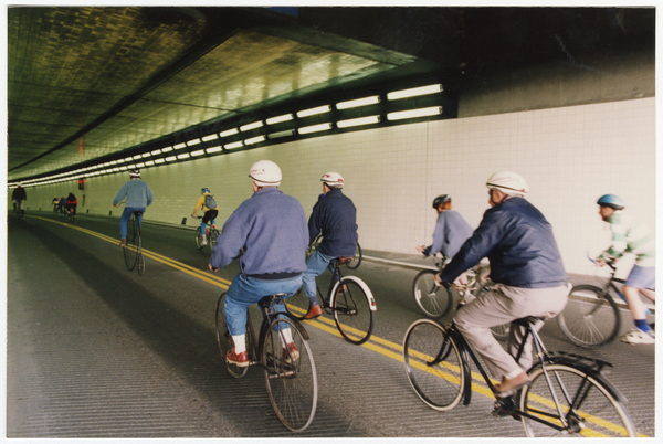 Cyclists entering Lyttelton Tunnel