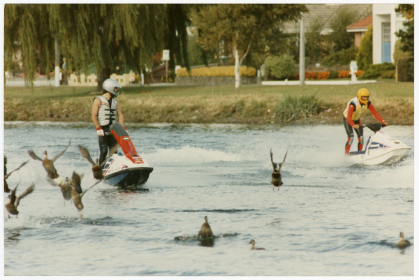 Jet skiers on the Avon River