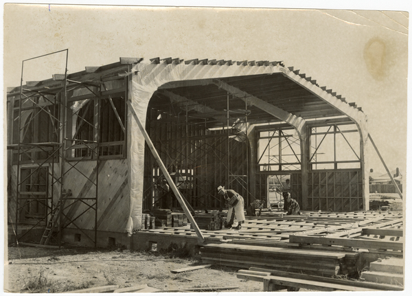 Construction of Linwood High School assembly hall
