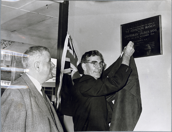 Unveiling of plaque at Canterbury Savings Bank