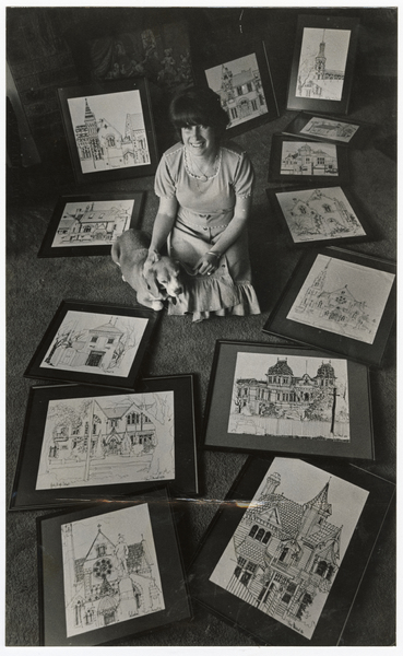 Artist Kay Stewart with sketches