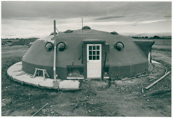 Concrete flying saucer home at West Melton