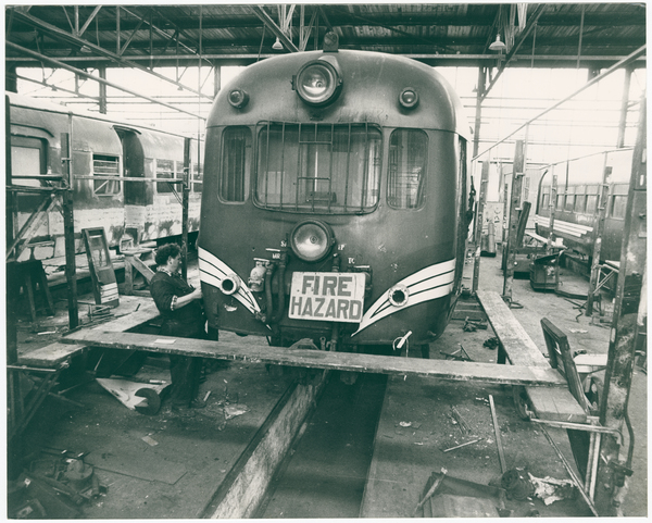 Alan Monson working on a railcar unit