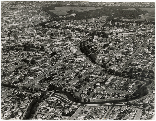 Aerial view of the city and Avon River