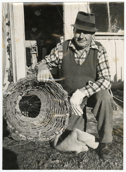 Mr Arthur Hedges with one of his eel traps