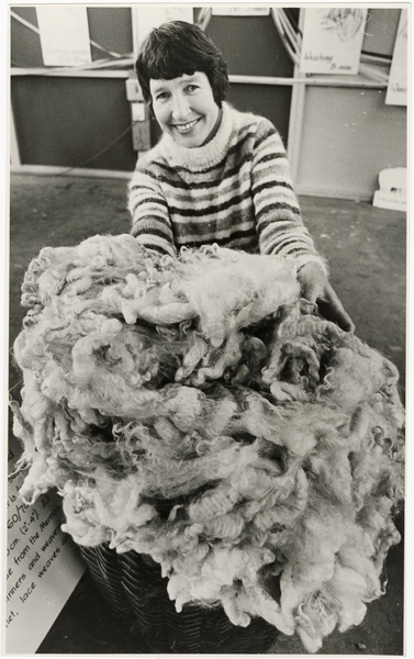 Guild of Weavers and Spinners member with fleece