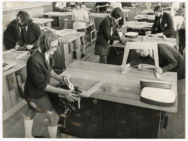 Avonside Girls' High School pupils doing woodwork