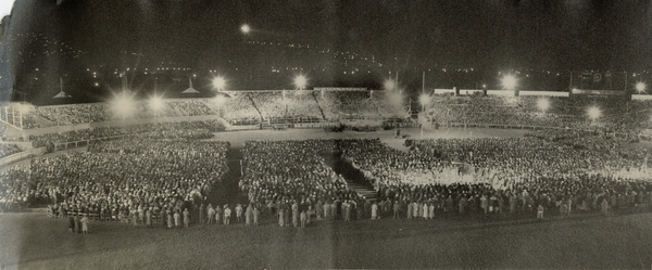 Crowds at Lancaster Park during Billy Graham's Crusades