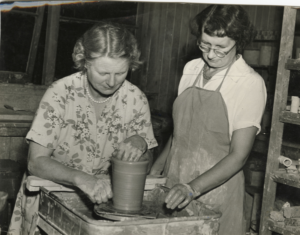 Mrs J. Lovell-Smith using a potters wheel