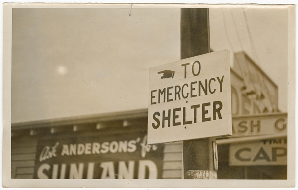Emergency shelter sign, Redcliffs