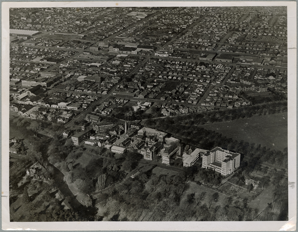 Aerial view of Christchurch Hospital and surrounds