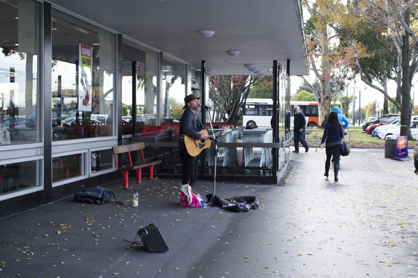Busker at Bishopdale Village Mall