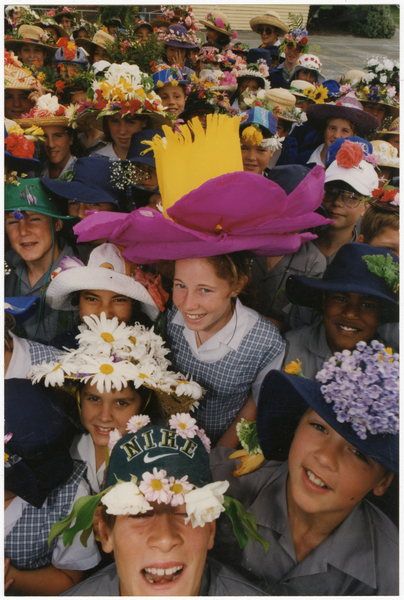 Cobham Intermediate students, floral hat competition