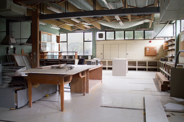 Bishopdale Pottery Group room before library demolition