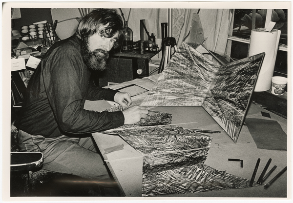 Artist Graham Bennett in his studio