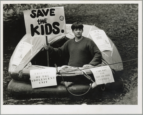 Protest raft on the Avon River