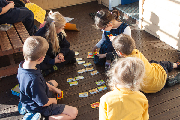 Students play a counting game, South New Brighton School