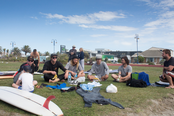 Lunch at a surfing competition, New Brighton