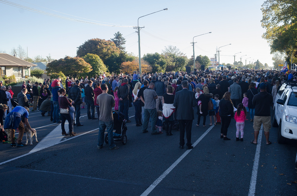 Crowd at Anzac Day parade, Halswell Road.