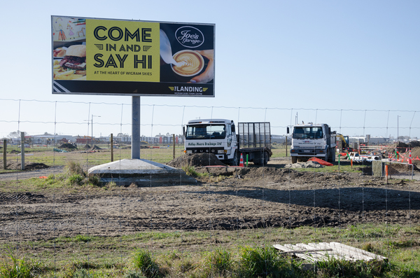 Billboard for The Landing town centre, Wigram Skies