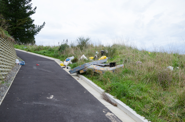 Dumped rubbish next to new driveway in Kennedys Bush