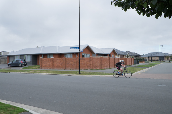 Cyclist in Aidanfield subdivision| Halswell