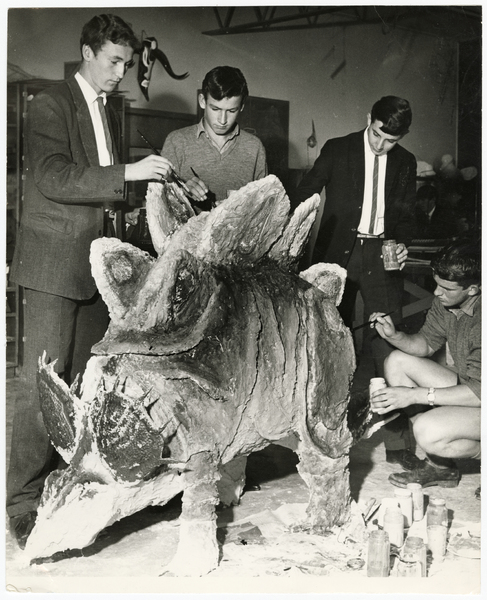 Shirley Boys' High School students with Stegosaurus model