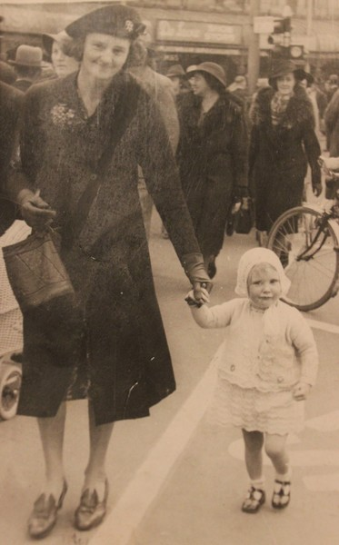 Mrs Myrtle Teague & her daughter Betty Teague in Cathedral Square