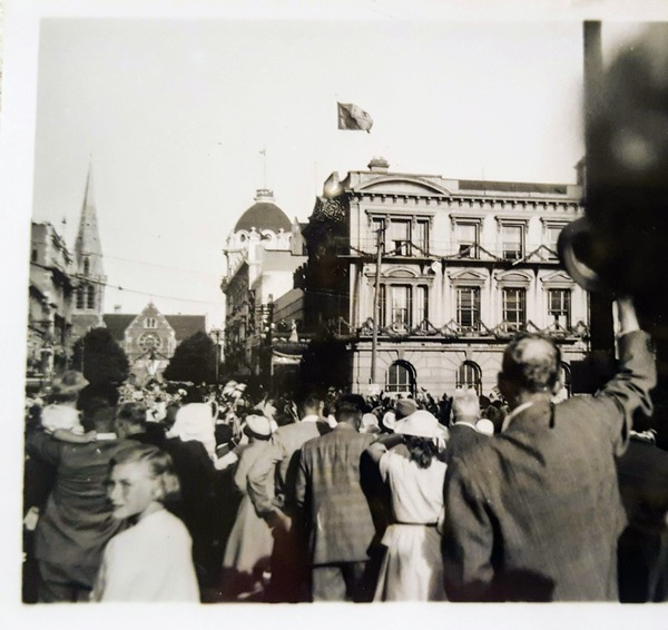 The Queen on the balcony of the Clarendon Hotel during the Royal Visit