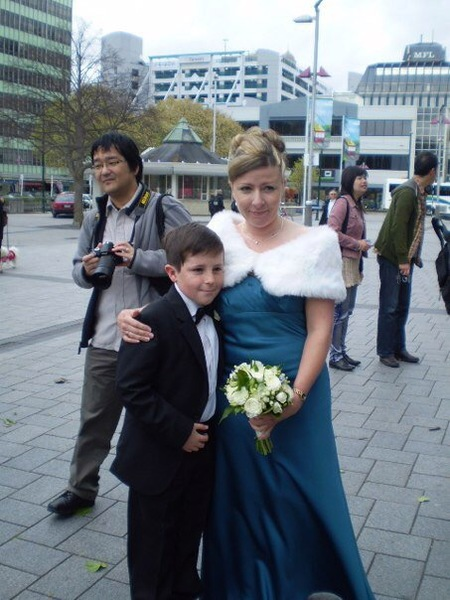 Bridesmaid and Page Boy outside ChristChurch Cathedral